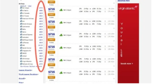 Most of major airlines prices are much higher